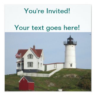 Maine Lighthouse 13 Cm X 13 Cm Square Invitation Card