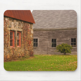 Maine,  Old stone building and wooden barn in Mouse Pad