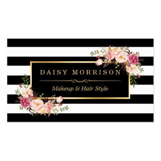 Makeup Artist Beauty Salon Gold Vintage Floral Pack Of Standard Business Cards