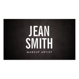 Makeup Artist Bold Text Elegant Dark Leather Pack Of Standard Business Cards