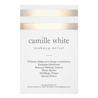 Makeup Artist Gold Stripes Stylish Beauty Salon 14 Cm X 21.5 Cm Flyer