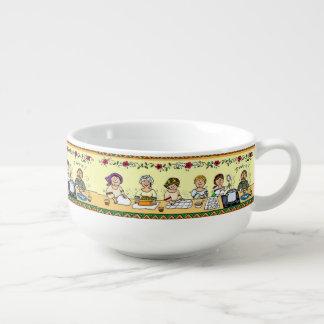 making perogies dish soup mug