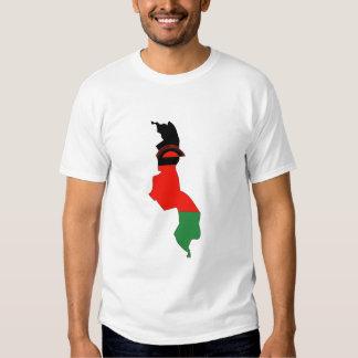 Malawi flag map t shirt