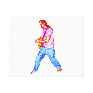 Male acoustic guitar player pink shirt  jeans gallery wrap canvas
