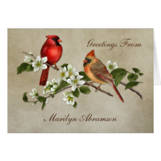 Male Female Cardinal Dogwood Blossoms Note Cards