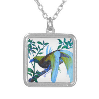 Male Paradise Bird Square Pendant Necklace