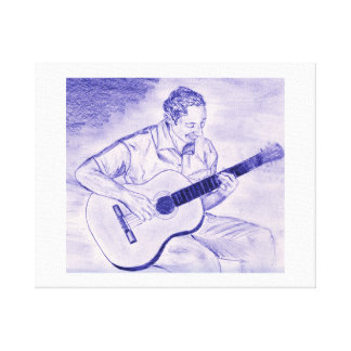 Male playing acoustic guitar while sitting Purple Canvas Print