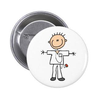Male Stick Figure Nurse 6 Cm Round Badge
