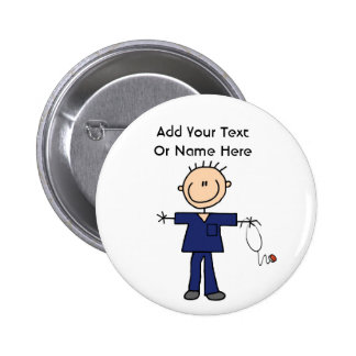 Male Stick Figure Nurse Aid T-shirts and Gifts 6 Cm Round Badge