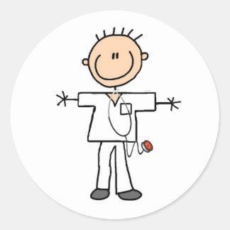 Male Stick Figure Nurse Round Sticker