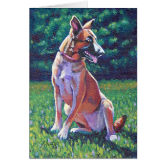 Malinois Shepherd in Grassy Field Greeting Card