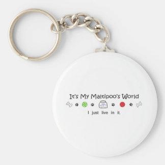 Maltipoo Basic Round Button Key Ring