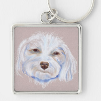 Maltipoo with an Attitude Silver-Colored Square Key Ring
