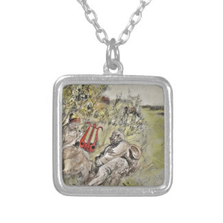 Man and Woman Sitting in the Pasture Square Pendant Necklace
