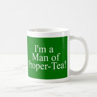 man of proper tea dark green basic white mug