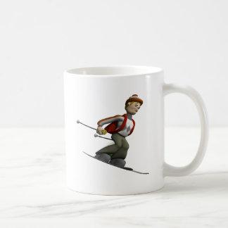 Man Skiing Basic White Mug