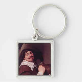 Man with a Jug Silver-Colored Square Key Ring