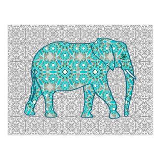 Mandala flower elephant - turquoise, grey & white postcard