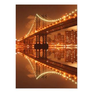 Manhattan Bridge At Night, New York City 14 Cm X 19 Cm Invitation Card