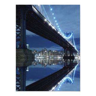 Manhattan Bridge At Night, New York City 17 Cm X 22 Cm Invitation Card