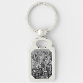 Manhattan from Above Silver-Colored Rectangle Key Ring