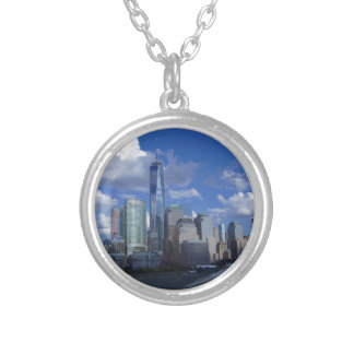 Manhattan NYC World Trade Center WTC Hudson River Round Pendant Necklace