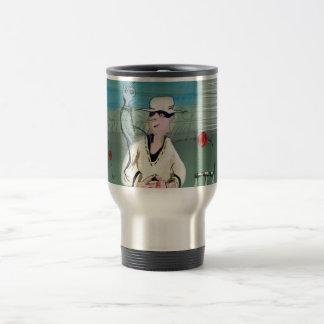 Manic cricketer stainless steel travel mug
