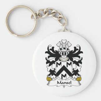Mansel Family Crest Basic Round Button Key Ring