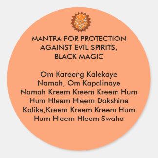 MANTRA FOR PROTECTION AGAINST EVIL SPIRITS, BLACK ROUND STICKER