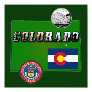 Map and Picture Text of Colorado 13 Cm X 13 Cm Square Invitation Card