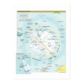 Map of Antarctic Region Postcard