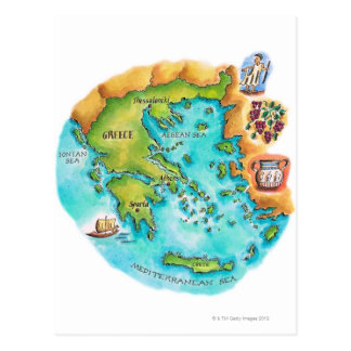 Map of Greece Isles Postcard