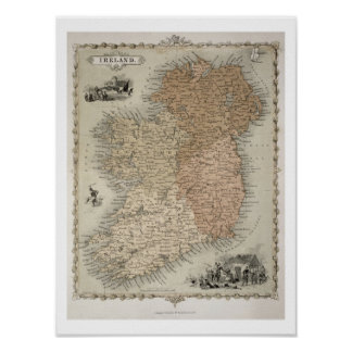 Map of Ireland, published c.1850 (hand-coloured en Poster