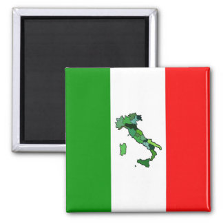 Map of Italy and Italian Flag Square Magnet