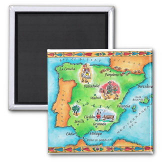 Map of Spain Square Magnet