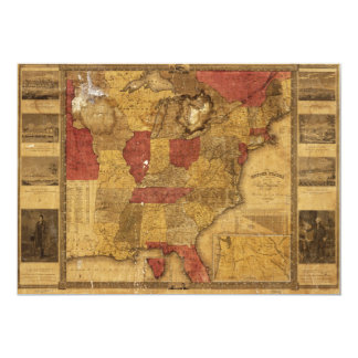 Map of The United States (1837) 13 Cm X 18 Cm Invitation Card