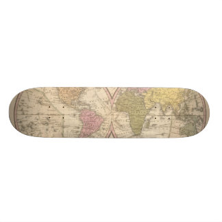 Map Of The World on the Globular Projection 2 20.6 Cm Skateboard Deck