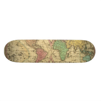 Map Of The World on the Globular Projection Skateboard Deck