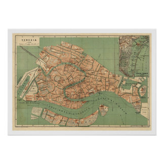 Map of Venice, Italy around 1886 Poster