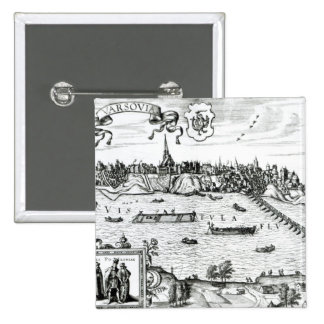 Map of Warsaw, from 'Civitates Orbis Terrarum' by 15 Cm Square Badge
