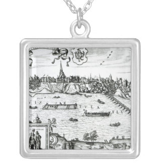 Map of Warsaw, from 'Civitates Orbis Terrarum' by Square Pendant Necklace