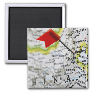Map pin placed in Beijing, China on map, Square Magnet