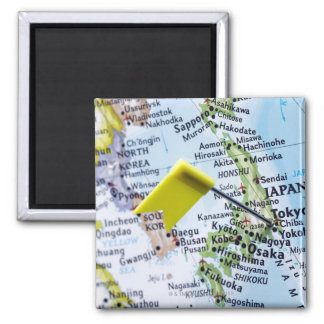 Map pin placed in Tokyo, Japan on map, close-up Square Magnet