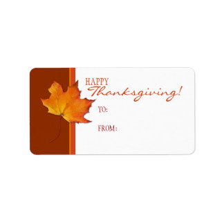Maple Leaf Thanksgiving Gift Tag Label Address Label