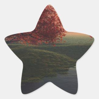 maple pond ..beautiful landscape star sticker