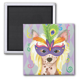 Mardi Gras Chinese Crested Square Magnet
