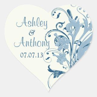Marine Blue Ivory Floral Wedding Heart Stickers