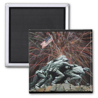 Marine Corp War Memorial with Fireworks Square Magnet