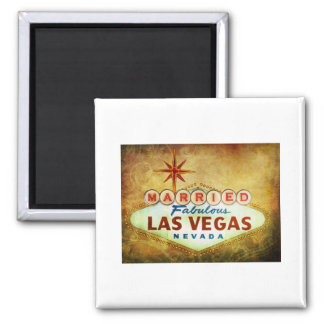 Married in Fabulous LAS VEGAS Square Magnet