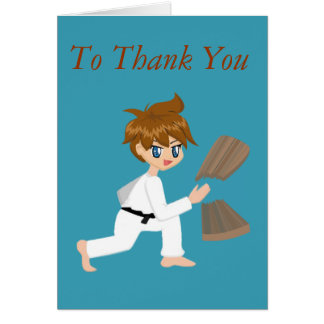 Martial Arts Boy Breaking Board Thank You Cards